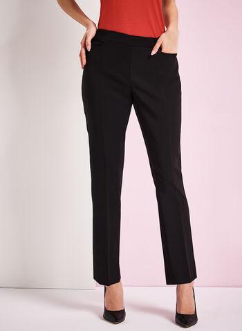 Pull-On Straight Leg Pants, Black, hi-res