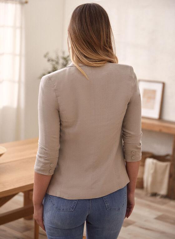 Linen Blend Gathered Sleeve Jacket, Beige