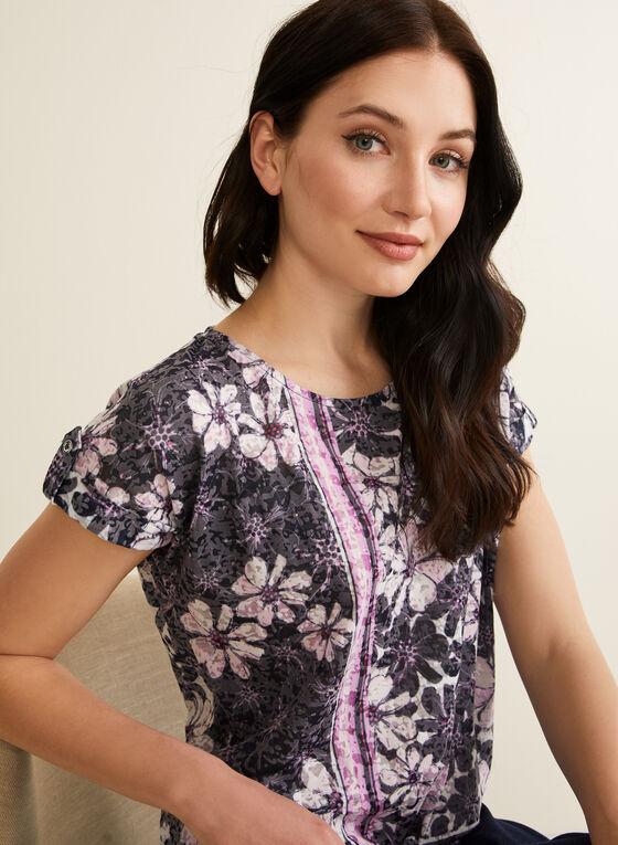 T-shirt à fleurs et cristaux, Violet
