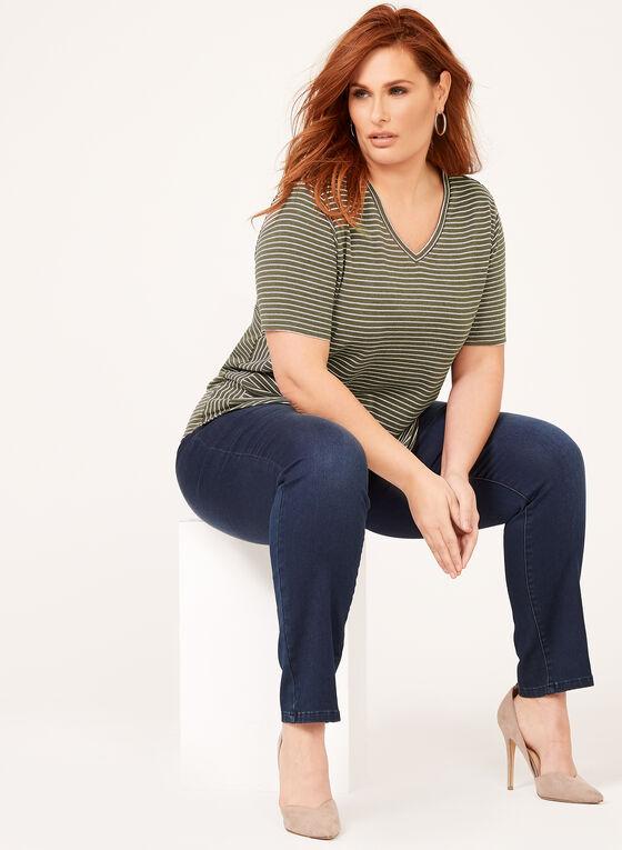 T-shirt à rayures et col V, Vert, hi-res