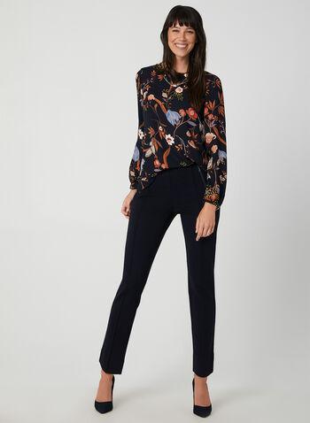Pantalon coupe cité à détails zips, Bleu,  automne hiver 2019, taille pull-on, taille élastique, jambe étroite, point de Rome, nervure, zip, taille mi-haute