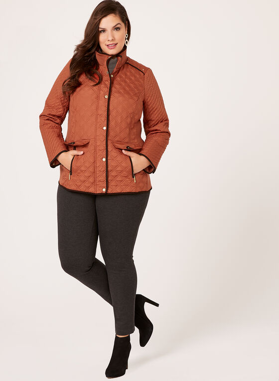 Weatherproof - Diamond Quilted Hooded Coat, Orange, hi-res