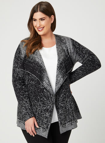 Abstract Print Knit Cardigan, Grey, hi-res