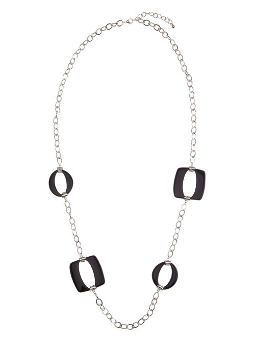 Geometric Ring Chain Necklace , Blue, hi-res
