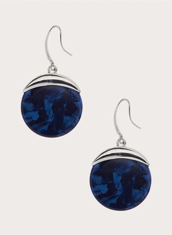 Marble Dangle Earrings, Blue, hi-res