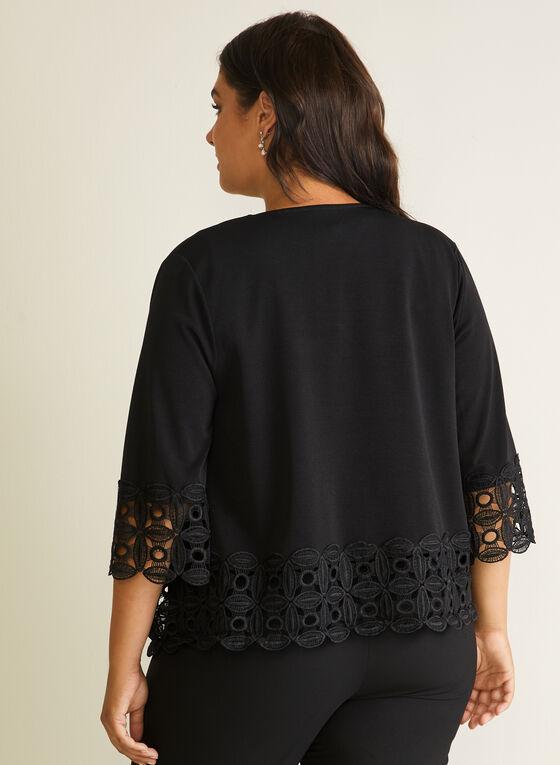 Lace Detail Open Front Top, Black