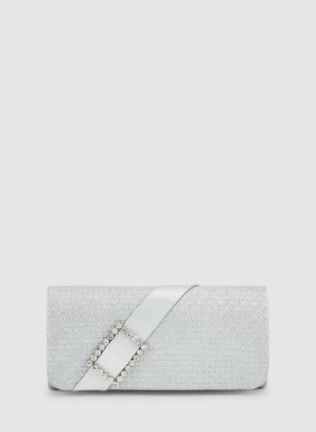 Pochette scintillante, Argent, hi-res,  paillettes, cristaux, ruban, sacoche, sac à main, sac de soirée, automne hiver 2019