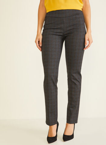 Tartan Print Pull-On Pants, Grey,  pants, pull-on, tartan, slim leg, pleats, fall winter 2020
