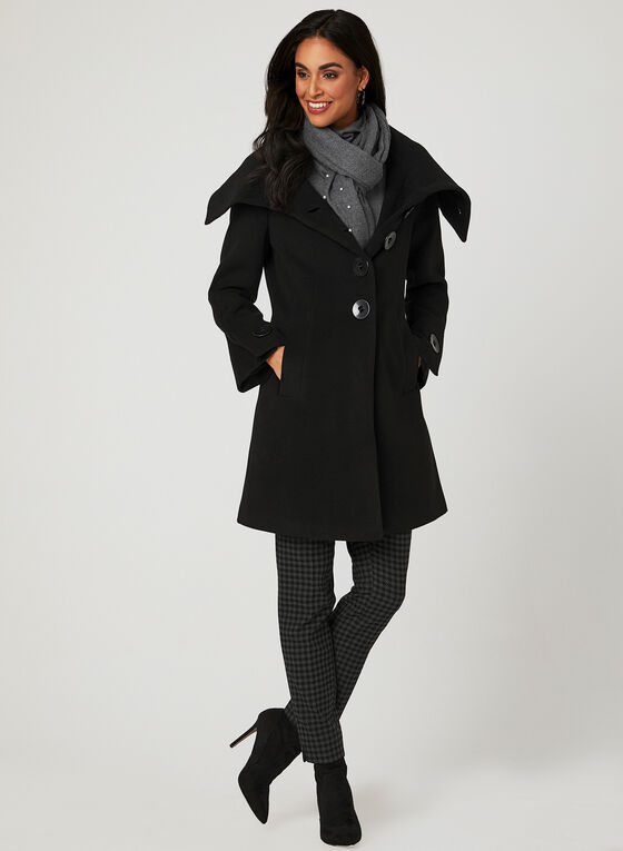 Envelope Collar Coat, Black, hi-res