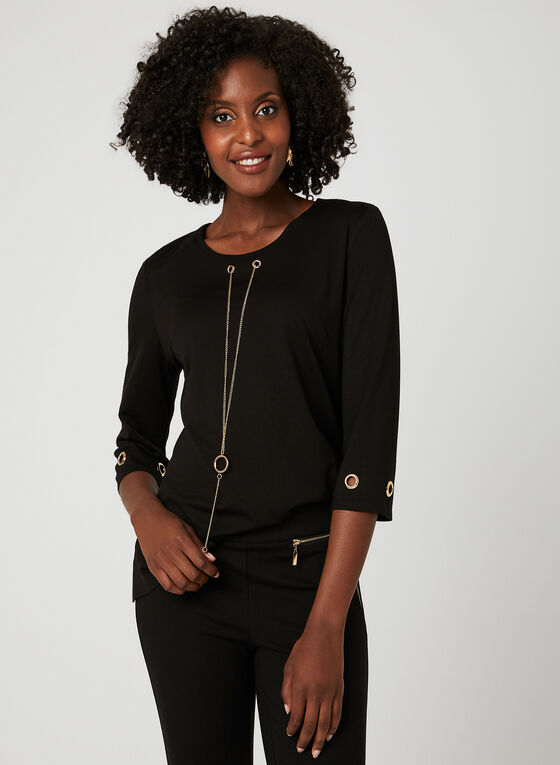 Alison Sheri - Haut avec œillets et collier doré , Noir, hi-res
