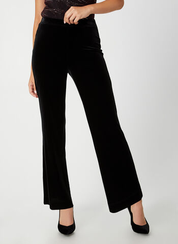 Pantalon en velours à jambe large, Noir,  pantalon, pull-on, jambe large, velours, automne hiver 2019