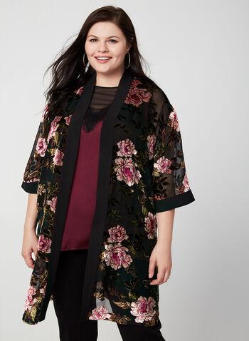 Kimono fleuri ouvert, Noir,  kimono, haut, ouvert, fleurs, velours, manches 3/4, mousseline, automne hiver 2019