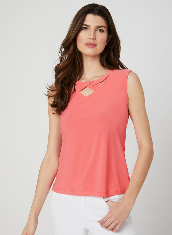 Sleeveless Cutout Top, Orange, hi-res