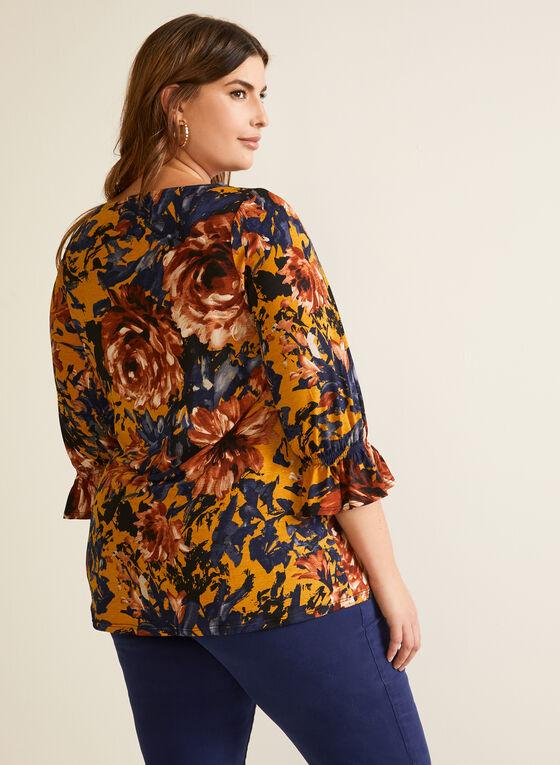 Floral Print Ruffle Sleeve Top, Blue
