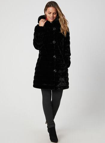Nuage - Manteau réversible à capuchon, Noir, hi-res,  manteau, capuchon, réversible, fausse fourrure, nylon, boutons, automne hiver 2019