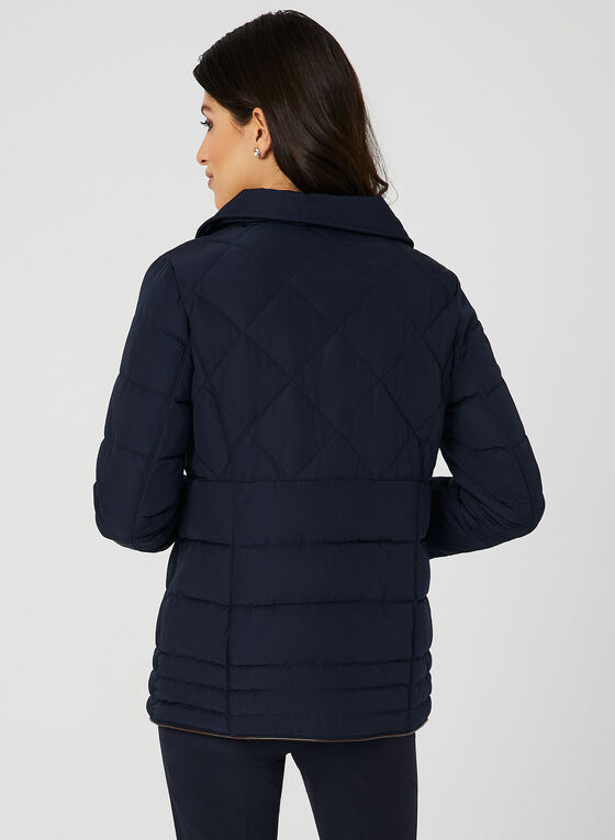 Quilted Faux Fur Collar Coat, Blue, hi-res