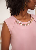Chain Detail Sleeveless Top, Pink