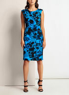 Floral Print Faux Wrap Dress, Blue, hi-res