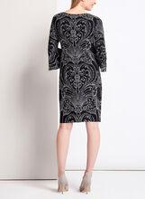 3/4 Bell Sleeve Vintage Print Jersey Dress , Black, hi-res