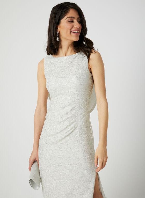 Robe longue texturée à effet métallisé, Blanc cassé, hi-res