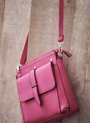 Sac à bandoulière et détail rivets , Rose,  sac à main, sacoche, sac, rivets, bandoulière, décoration, zips, tirettes, fermoirs, plusieurs compartiments, printemps été 2021