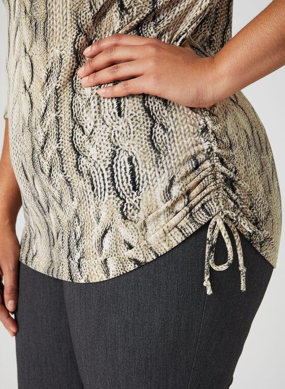 Cable Knit Print Top, Brown, hi-res