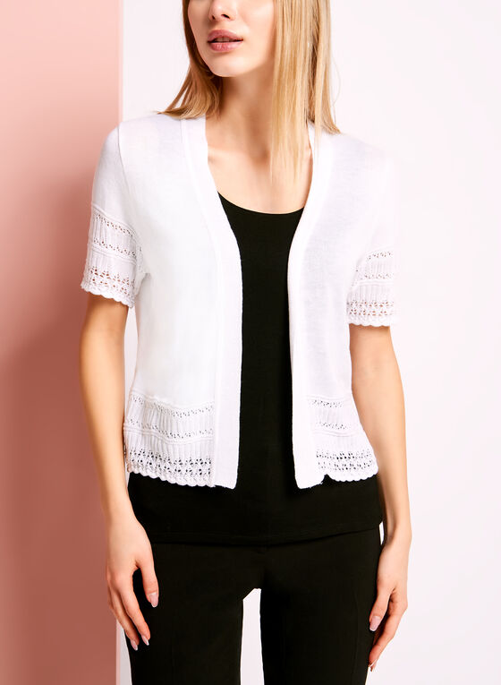Elbow Sleeve Pointelle Bolero, White, hi-res