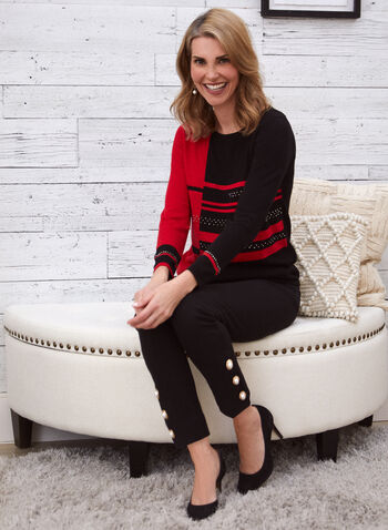 Rhinestone Detail Colour Block Sweater, Red,  sweater, knits, rhinestones, stripe, colour block, 2 tone, long sleeves, round neck, fall winter 2020