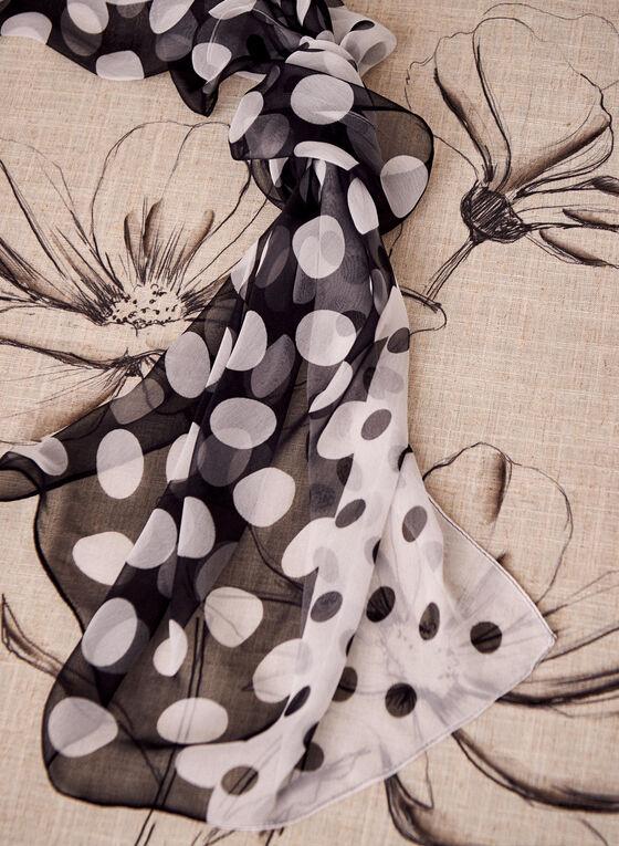 Foulard à motif pois en mousseline, Noir