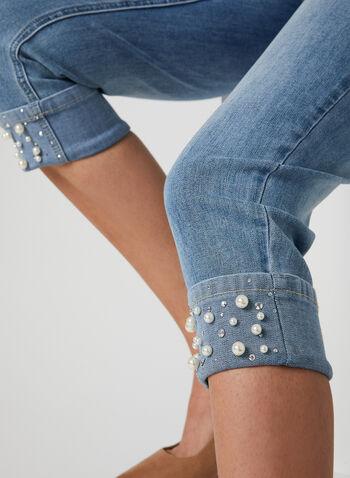 Signature Fit Straight Leg Capris, Blue, hi-res,  Spring 2019, crystal, pearls, denim, jeans, signature fit