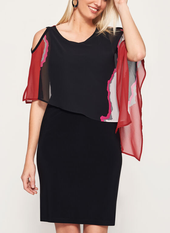 Robe poncho motif abstrait à épaules dénudées, Noir, hi-res