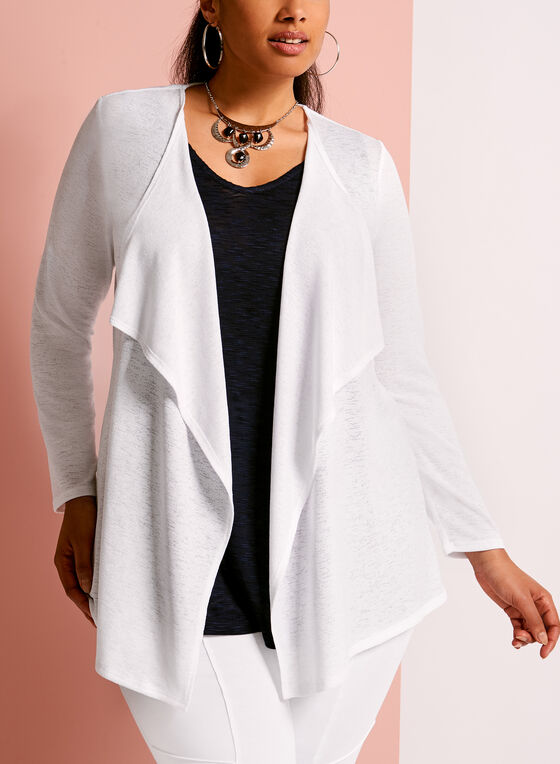 Knit Cascade Open Front Top, White, hi-res