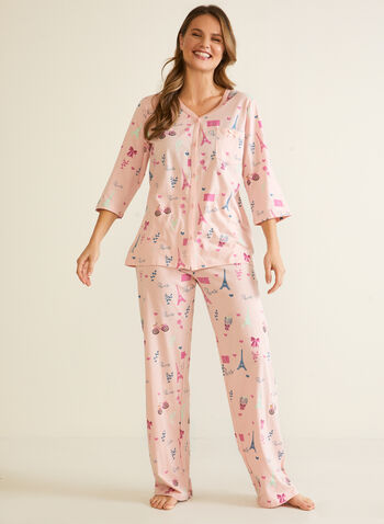 Parisian Print Pyjama Set, Multi,  fall winter 2020, pyjamas, pyjama set, sleepwear, holiday, holiday 2020, Paris print, Eiffel Tower print