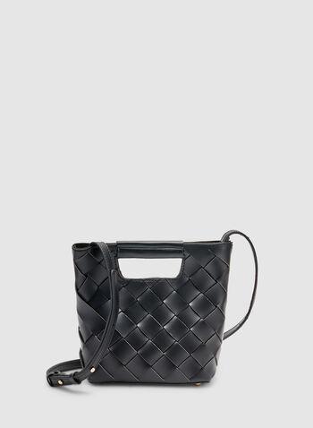 Basket Weave Handbag, Black,  handbag, basket weave, spring 2019, summer 2019