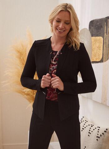 Veste à col cranté et détails zippés, Noir,  automne hiver 2019, manches longues, veste, blazer, col cranté, zip. surpiqûres, point de Rome