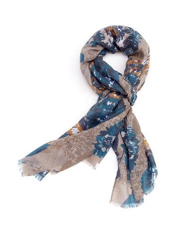 Foulard franges et fleurs, Bleu, hi-res
