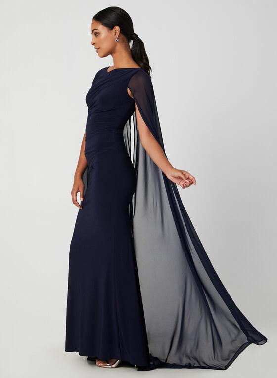 Robe drapée à cape en mousseline, Bleu, hi-res