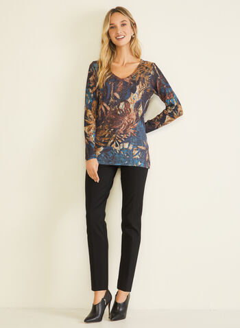 Vex - Foliage Print Long Sleeve Tee , Blue,  t-shirt, long sleeves, foliage, v-neck, rhinestones