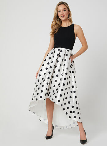 Polka Dot Print High Low Dress, Black, hi-res
