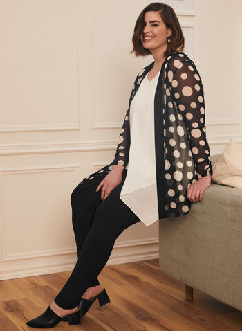 Dotted Print Mesh Cover-Up, Black,  top, cover-up, dotted, mesh, long sleeves, open front, contrast, spring summer 2021