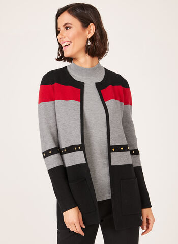Colour Block Knit Cardigan, Black, hi-res
