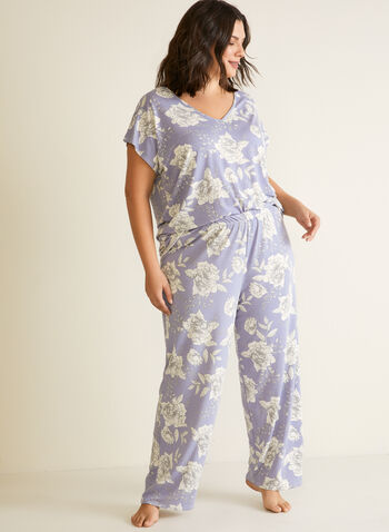 Floral Print Pyjama Set, Blue,  pyjamas, 2 piece, set, floral, short sleeves, fall winter 2020