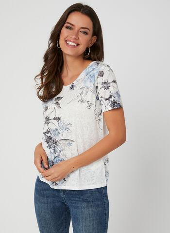 Floral Print Burnout T-Shirt, Blue, hi-res