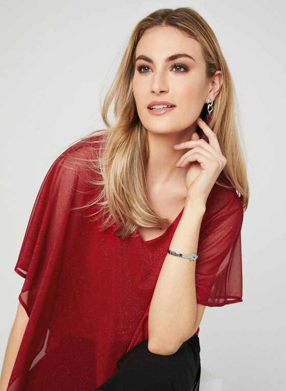 Blouse poncho brillante, Rouge, hi-res