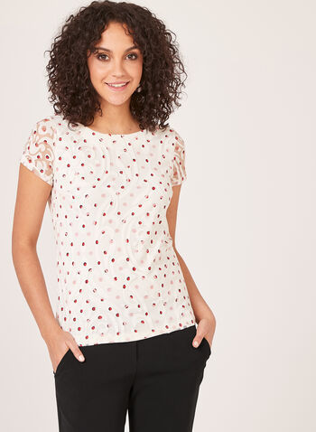 Dot Print Mesh Top, White, hi-res