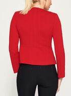 Zipper Trim Ponte Jacket, Red, hi-res
