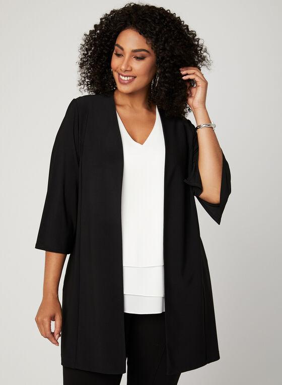 ¾ Sleeve Open Front Cardigan , Black, hi-res