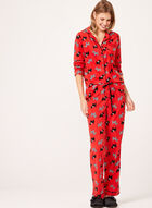 René Rofé - Dog Print Fleece Pajama Set , Red, hi-res