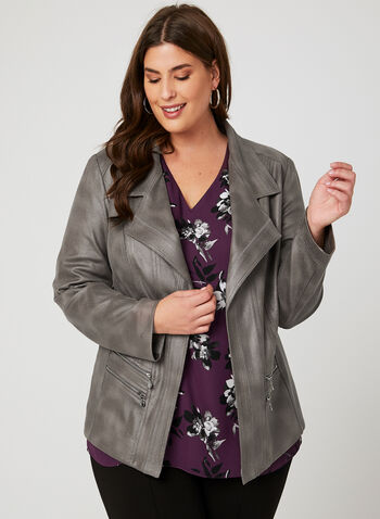 Vex - Open Front Faux Suede Jacket , Grey, hi-res