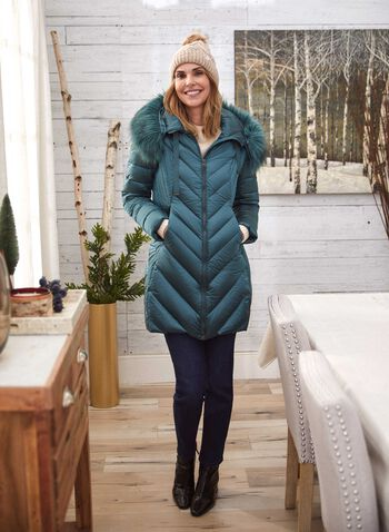 Iridescent Down Blend Coat, Green,  fall winter 2020, coat, winter coat, quilted, hood, down, pockets, feathers, holiday, down blend, faux fur